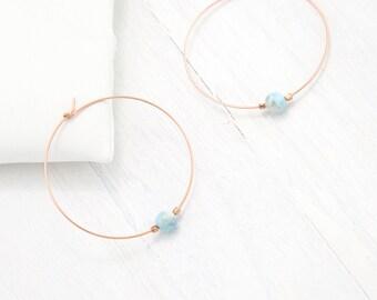 Natural Gemstone Hoops, Minimalist Earrings, Rose Gold Hoop Earrings, Dainty Gold Hoops, Modern Hoop Earrings, Bridesmaid Jewelry, BFF Gifts