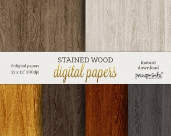 Wood Digital Paper: STAINED WOOD Background, Wood Textures, Rustic Wood, Distressed Wood