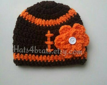 Baby Girl Cleveland Browns Hat, Browns Hat, Cleveland, Crochet Football Hat, Baby Football Hat, Newborn Hat Photo Prop, Infant Photo Prop