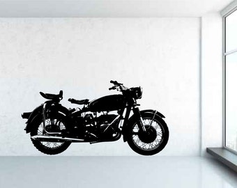 Classic Vintage Motorcycle, Motorbike. Vinyl wall art decal sticker. Any color and size.