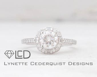 The Ella Art Deco Cathedral Style Halo and Diamond Accented Engagement Ring Featuring the new Forever One Moissanite