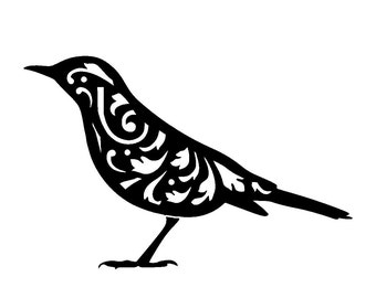 "5.8/8.3"" Vintage bird design 1 stencil template. A5."