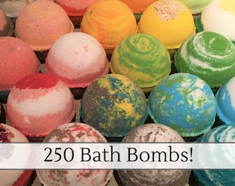 250 Bulk Bath Bombs, Custom Labels Available! Wholesale bath bombs! Free Shipping Discount, Handmade Bath Fizzies, Party Favors