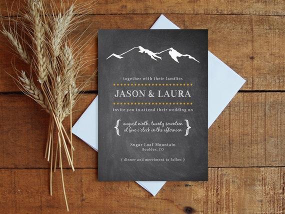 Chalkboard Wedding Invitations: Wedding Invitation Set Chalkboard With Mountain Printable Or