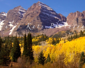 "20"" x 40"" Print on Canvas, Maroon Bells, Colorado Aspen Trees, Nature Landscape Fine Art Print - ""Maroon Bells Panoramic"""