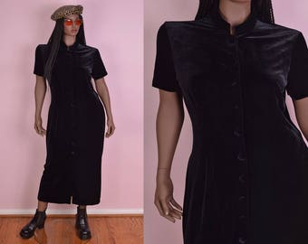 90s Black Velvet Button Down Dress/ US 12/ 1990s/ Maxi