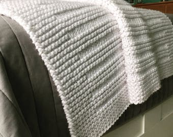 KNITTING PATTERN / Blanket / Where the Sidewalk Ends / Throw / Afghan / Knit / Gift / Wedding / Baby / Quick / Easy / PDF Instant Download
