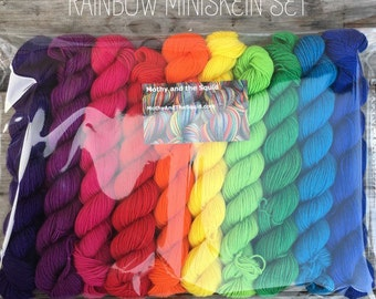 Rainbow Miniskein Gift Set, 10 x 20g bright solid colours merino nylon blend 75/25 platinum sock, with over 200g indie dyed yarn