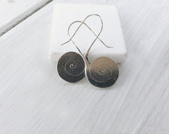 Boho Sterling Silver Spiral Drop Earrings, Handmade Gypsy Hippie Swirl Earrings, Simple Everyday Earrings, Spiral Jewelry, Silver Jewelry