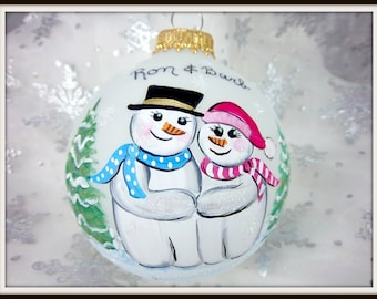 First Christmas Together  Ornament, Snowman Couple, Christmas Keepsake, Free Inscription Let it Snow