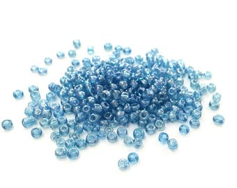 ♥ 10 grams seed beads blue glass Pearl 2mm♥