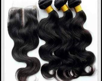 100 % top quality Virgin bodywave hair bundles. 3 bundles in various lengths  with a lace front closure(4×4).