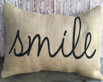 Burlap Smile Pillow Cover 12x16