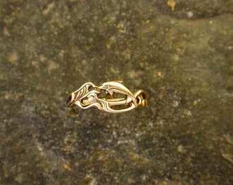 Swimming Dolphin 14K Gold Ring