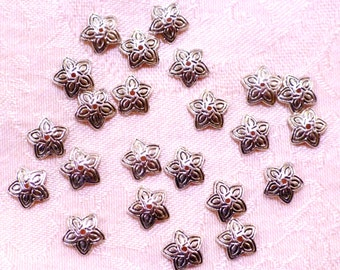 Silver Metal Floral Bead Caps 3mm x 11mm - Pack of 50