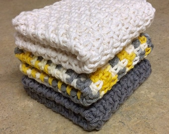 Crochet Dishcloth, Washcloth - Set of 3
