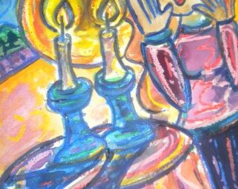 Lighting Shabbat Candles, Jewish Woman, Judaica Art, Jewish art PRINT