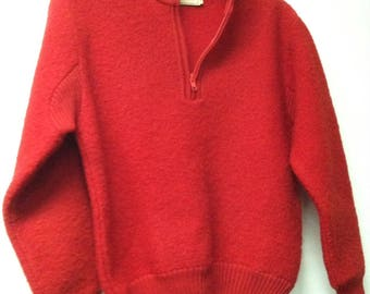 Vintage Women's L.L. Bean Boiled Wool Sweater Size Small Red 100% Pure Wool Warm!