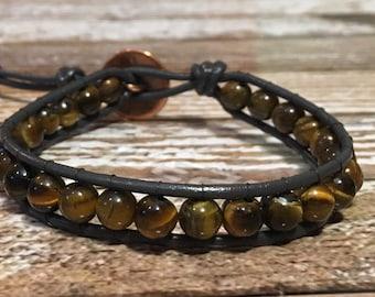 Healing Crystal Bracelet / Tigers Eye Bracelet / Chakra Healing Bracelet / Single Wrap Bracelet / Chan Luu Style Bracelet