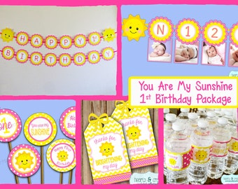 You Are My Sunshine Birthday Party Package DOWNLOAD / Sunshine Birthday Party Package / First Birthday - File to PRINT DIY