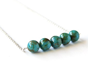 Genuine Kingman Turquoise Necklace Dark Teal Blue Natural Stone 10mm Round Beads Bar Necklace Sterling Silver Chain Simple Necklace #18641