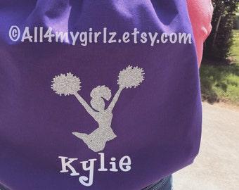 Personalized cotton drawstring bag monogrammed cheerleader bag cheer bag gym bag bridesmaid gift