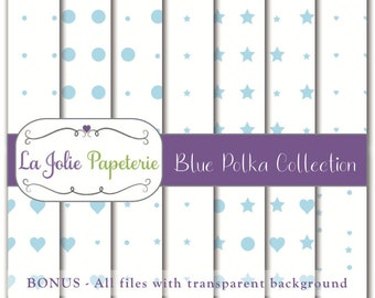 Blue Polka Collection (Digital Paper) - Patterns for Scrapbooking, Invitation, Card, Planners, Baptism, Nursery, Birthday, Baby Shower