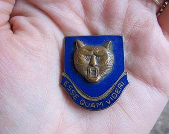 vintage c. early 1950s military shield pin // brass enamel // BOBCAT
