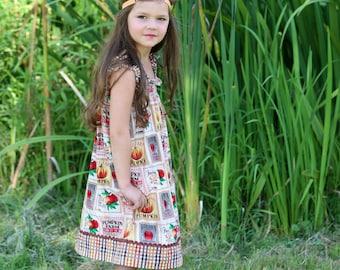 Pumpkin Farm  Shirred Dress (12 mos,  18 mos,24 mos,  2T, 3T, 4T, 5, 6 )