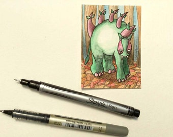 Forest guardian leaves trees small wall art miniature art ATC Gift Art Trading Card Whimsical - Original ART ACEO Watercolor - Katie Hone