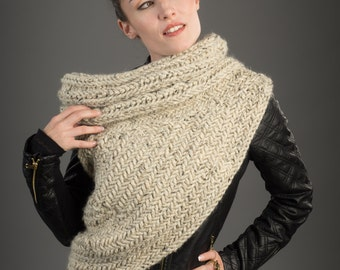 LAST Piece FINAL SALE- The Huntress Cowl Scarf - Christmas Gifts-Chunky Cowl Post Apocalyptic/ Asymmetrical Vest Handknit Oatmeal Sweater