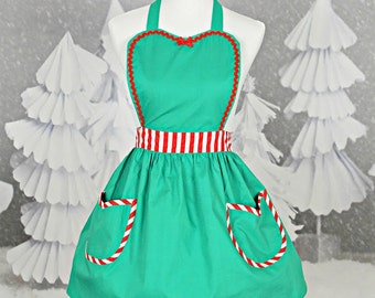 CHRISTMAS apron  womens full apron in green with red stripes Santas Helper or Elf apron,  hostess gift