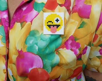 Pixels Smiley Brooch