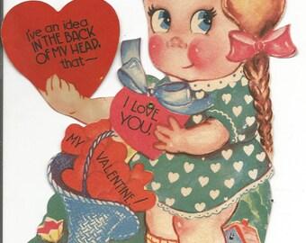 Vintage Mechanical Large Girl Valentine
