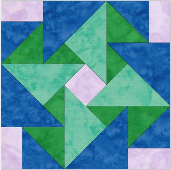 whirligig origami paper template 10 inch quilting block