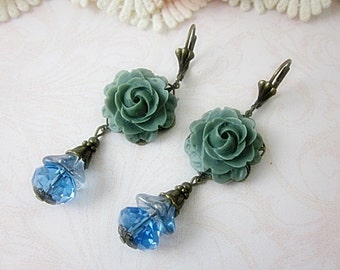 Grey Rose Earrings.  Wedding.  Bridal Jewelry.  Lovely Gift for her