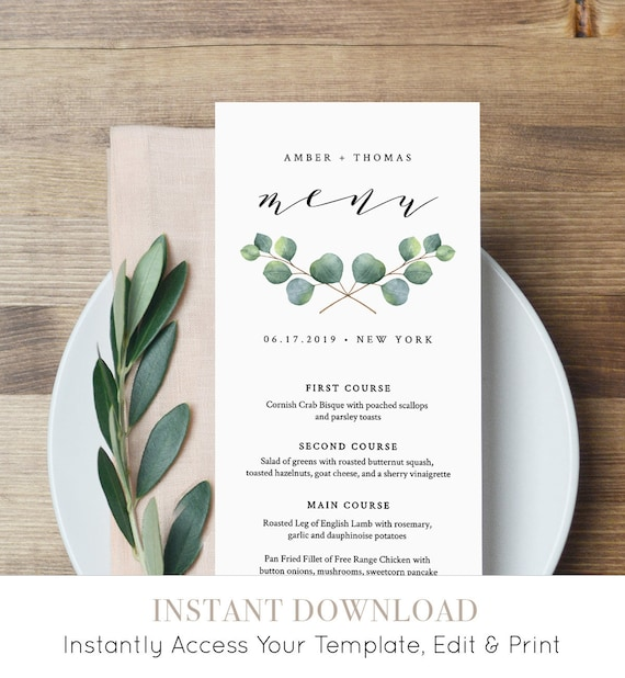 Eucalyptus Menu Template, Wedding Dinner Menu Printable, INSTANT DOWNLOAD, 100% Editable File, Greenery, Boho, TEMPLETT #036-120WM