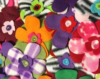 French Bulldog Fleece Flower Pins 2 for 5 dollars