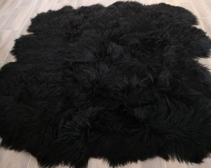 Genuine OCTO Natural Black Icelandic Sheepskin Rug, Pelt,  Giant Sheepskin throw