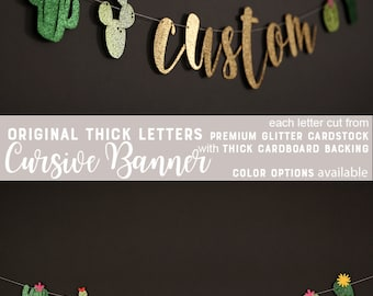 custom cactus banner, custom fiesta banner, summer party, glitter banners, cursive banner