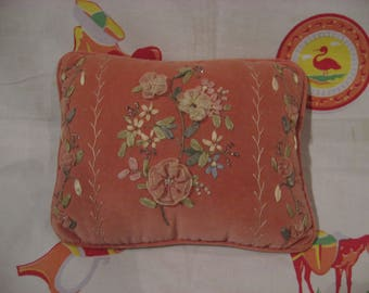 Small, lovely pink velvet pillow with hand done ribbon, needle and bead work