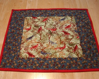 Placemats (4) --Birds And Cardinals In Blue And Beige--Reversible--Includes Shipping