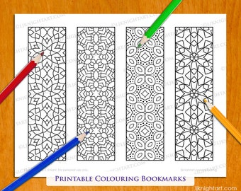 Geometric Patterns Printable Colouring Bookmarks - Set of 4 Abstract Patterns - Colourable Digital Download