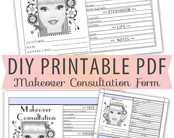 Beauty Makeup Makeover Consultation Order Form Sheet Letter Size Forms Sales Sheet Orders Blank Beautician Artist Instant Download Template
