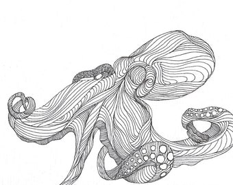 """Octopus Drawing - In & Outtopus  - Fine Art Giclee Print 9/50 of 6""""x4"""" Black and White Drawing"""