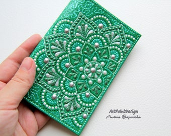 Passport cover, leather passport holder, leather case, Green, Mandalas