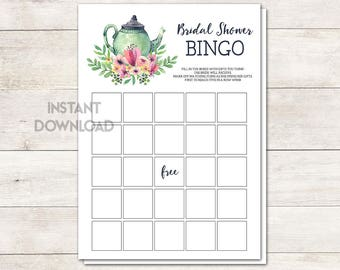 Bridal Shower Bingo, Bridal Shower Game, Bridal Shower Tea Party, Wedding Shower, Tea Party, Tea Pot, Watercolor, Floral, Printable No. 1018
