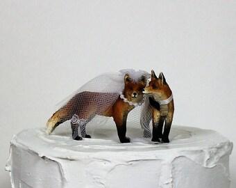 Fox Cake Topper, Fox Wedding Cake Topper, Animal Cake Topper, Fox Family Cake Topper
