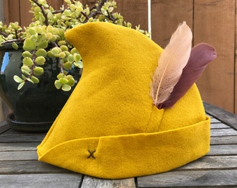 Mustard Yellow Peter Pan Hat with Cream & Brown Feathers