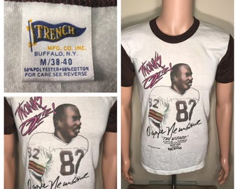 Vintage Cleveland browns 1980s tshirt // two tone // ozzie newsome the wizard // #82 cleveland browns // paper thin soft tee
